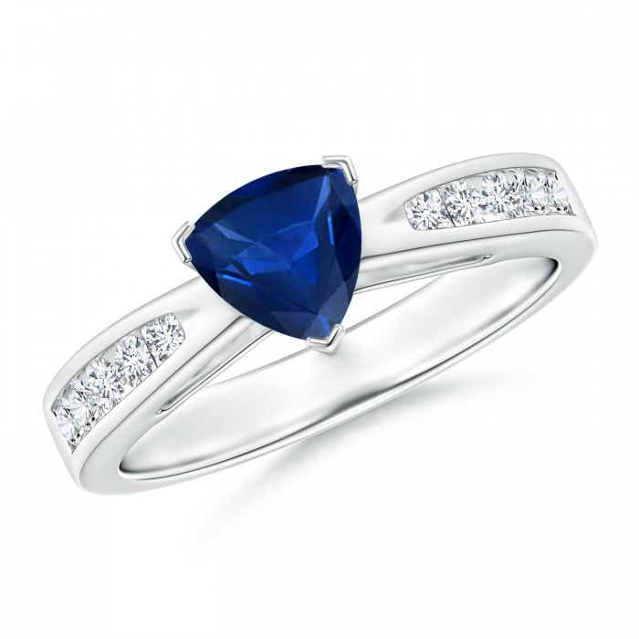 Angara Solitaire Blue Sapphire Heart Ring with Diamond Accents in Platinum S3UQ2