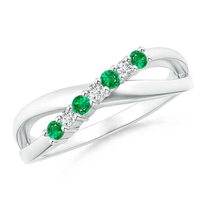Angara Womens Prong Set Round Emerald Diamond Semi Eternity Wedding Band