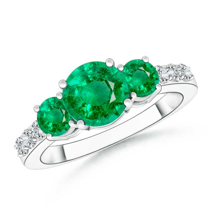 Angara Round Diamond Three Stone Ring with Emerald Accents in Rose Gold x5hLPDTA