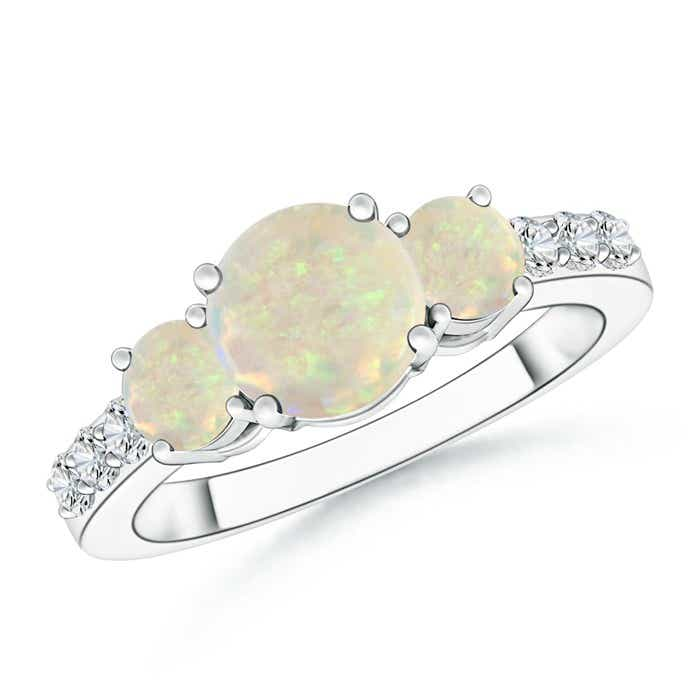Angara Three Stone Round Opal Ring with Diamond Accents