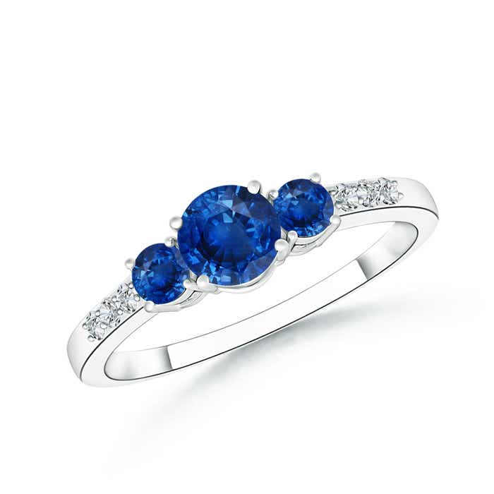 Angara Three Stone Blue Sapphire Ring With Diamond Accents