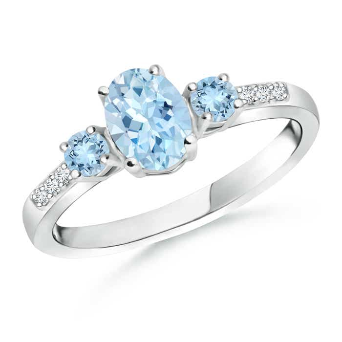 Angara Oval Aquamarine and Round Diamond Three Stone Ring CGmoUs7xN