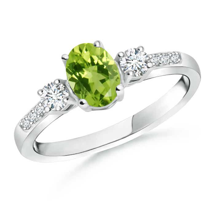 Angara Peridot Oval and Diamond Engagement Ring in Platinum