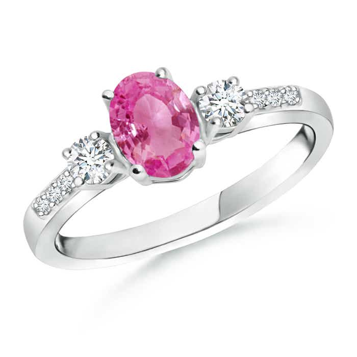 Angara Three Stone Pink Sapphire and Diamond Ring in Platinum