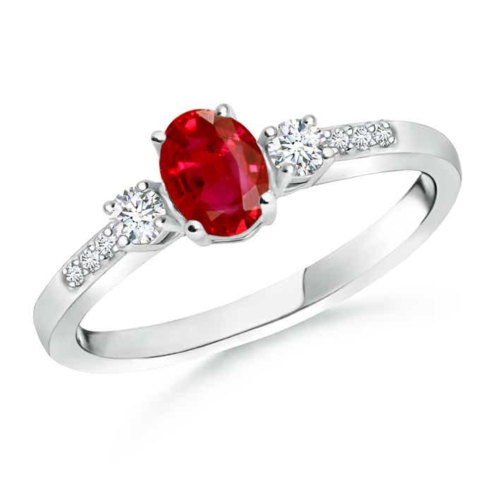 Angara Three Stone Diamond Engagement Ring with Ruby Accents in Rose Gold w0bPFjk