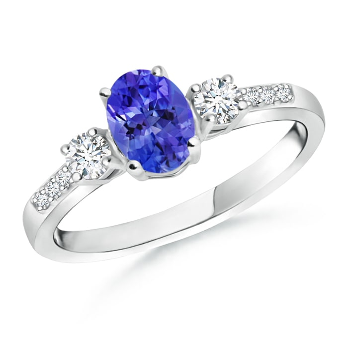 Angara Classic Prong Set Tanzanite and Diamond Three Stone Ring in White Gold rLAfiM0B