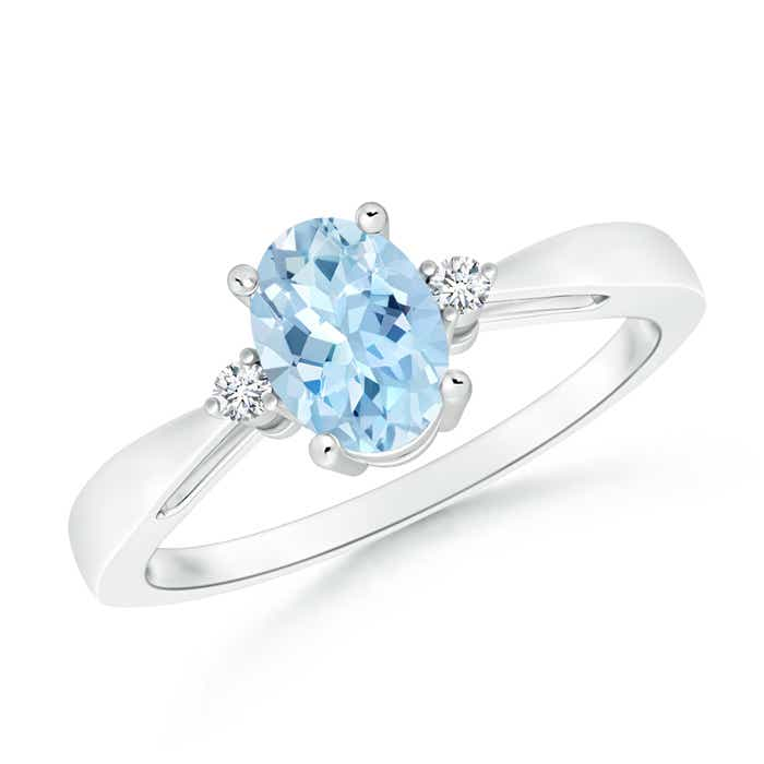 Angara Oval Aquamarine Ring With Trio Diamond Accents in 14k Yellow Gold
