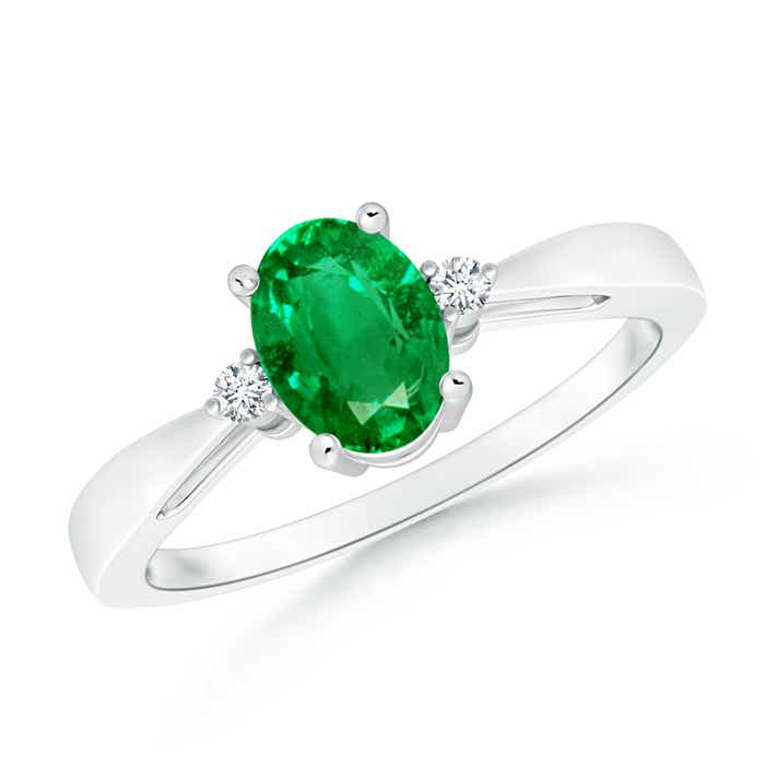 Angara Oval Emerald Solitaire Ring with Trio Diamond Accents in Yellow Gold WkvRu01