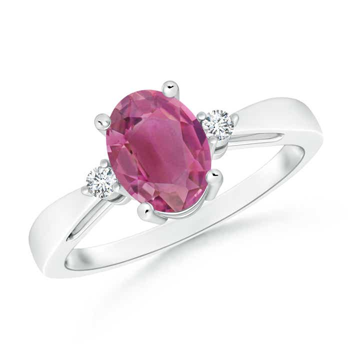Angara Round Pink Tourmaline Split Shank Ring in 14K Yellow Gold JNs2cJSD