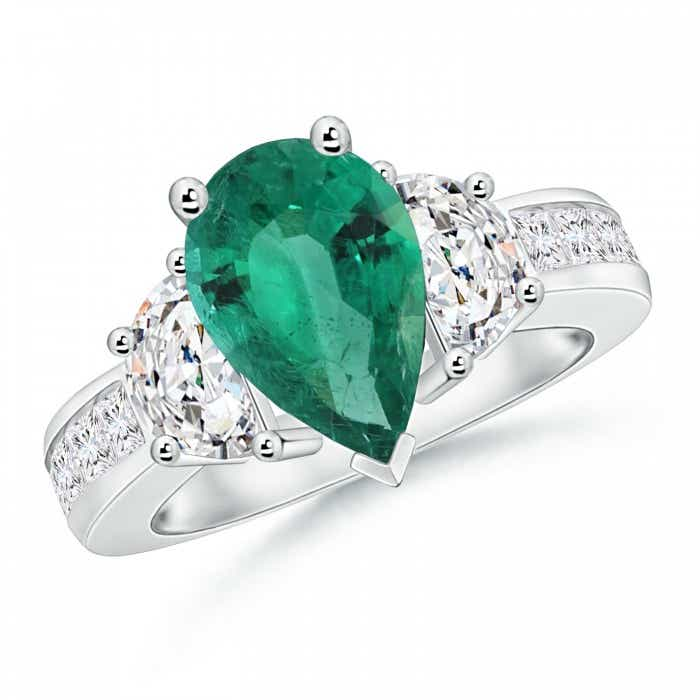 Angara Three Stone Emerald Wedding Ring in 14k Yellow Gold