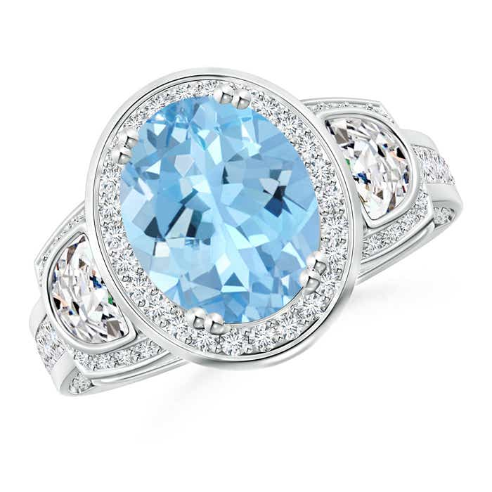 Angara Oval Aquamarine and Diamond Floral Vintage Ring in Platinum