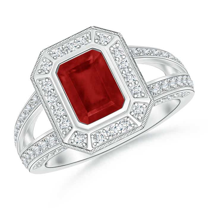 Angara Split Shank Pear Ruby and Diamond Double Halo Ring in 14K White Gold LQLqqtuJ