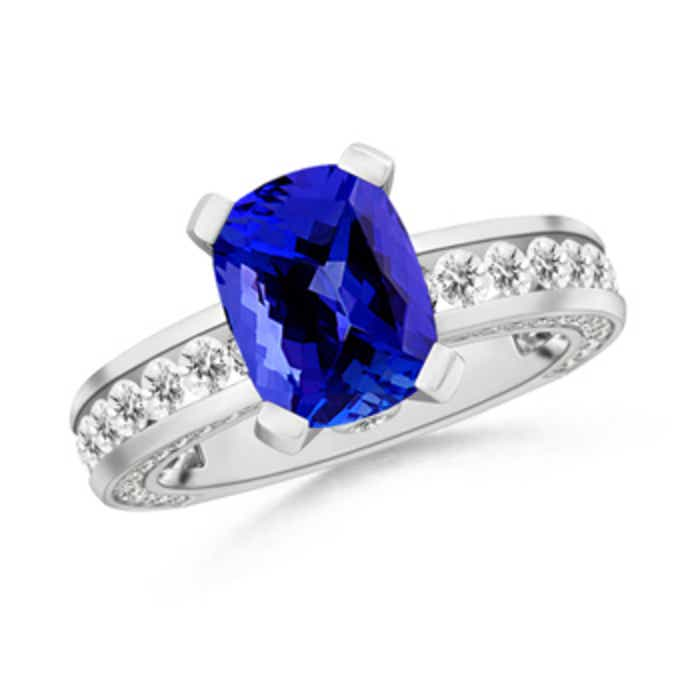 Angara Cushion Tanzanite Solitaire Ring in Platinum 0xeKyJ