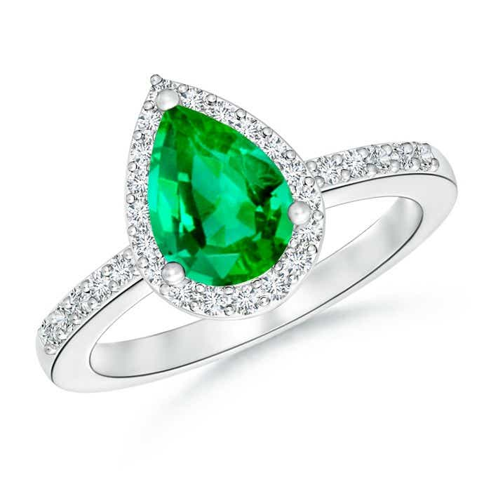 Angara Diamond Ring with Green Emerald Side Stones in White Gold Sf3jxBW