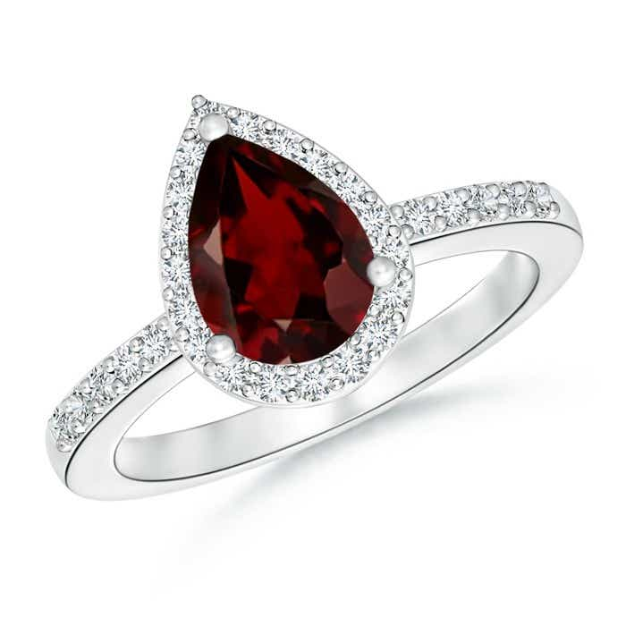 Angara Heart Shaped Garnet Halo Ring with Diamond Accents