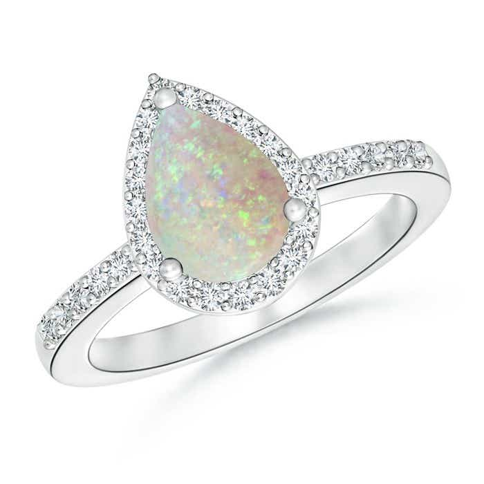 Angara Opal Ring with Diamond Halo in White Gold Qwbakok