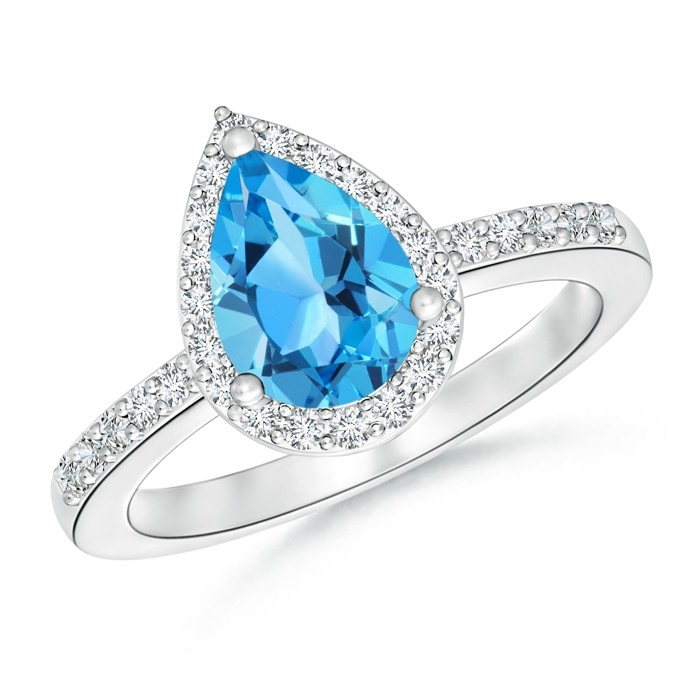 Angara Swiss Blue Topaz Diamond Halo Engagement Ring with Diamond