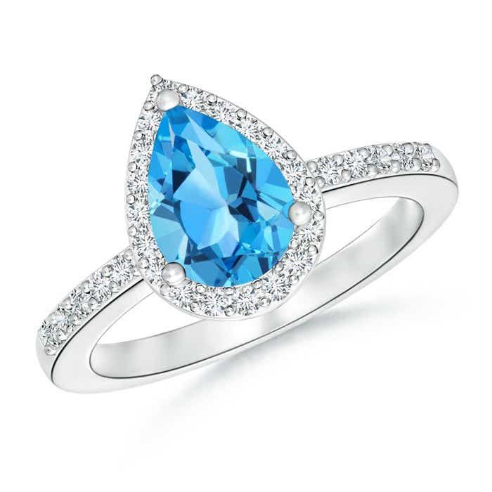Angara Solitaire Pear Swiss Blue Topaz Ring With Triple Diamond Accents