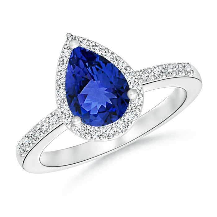 Angara Tanzanite Bridal Ring Set with Diamond Band in Platinum 4E67bs