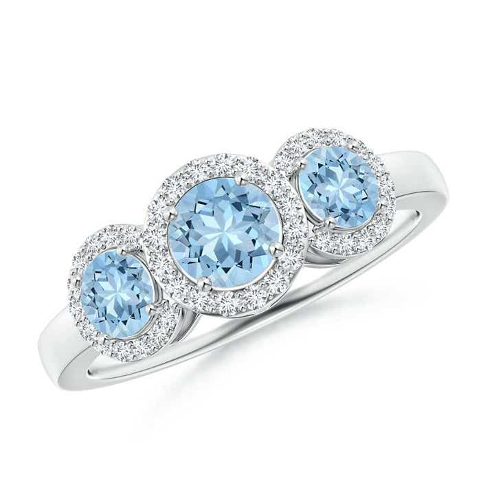 Angara Aquamarine Diamond Three Stone Ring in White Gold acfzxXZoV