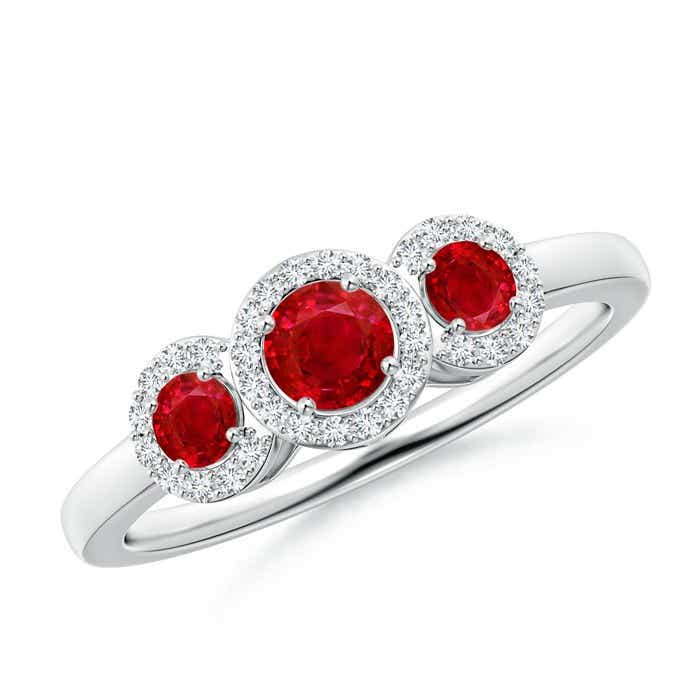 Angara Four Prong Three Stone Ruby Ring Diamonds in White Gold nhe6IL