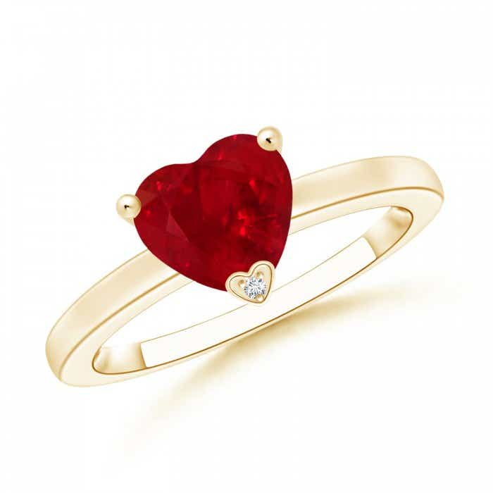 Angara Prong Set Solitaire Heart Shaped Ruby Wedding Ring in 14k Yellow Gold rfDFrI
