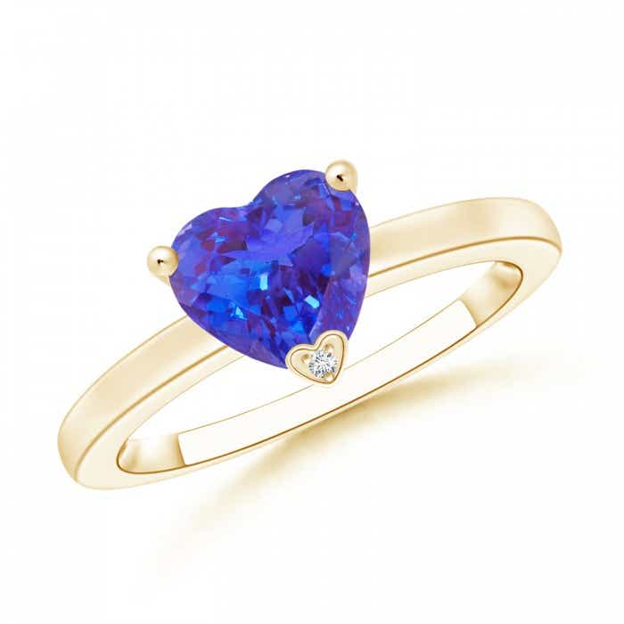 Angara Solitaire Tanzanite Bypass Promise Ring in 14K Yellow Gold