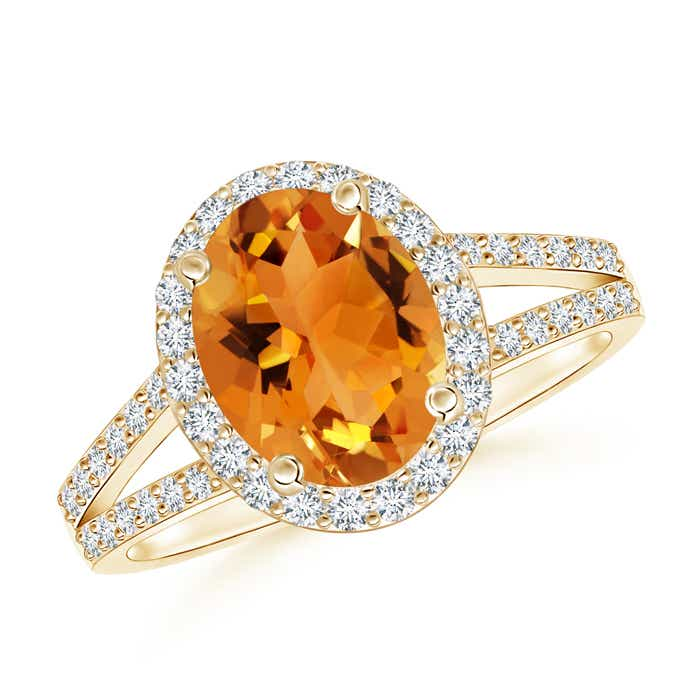Angara Prong Set Oval Citrine Halo Ring in 14K Yellow Gold 8zGCZ