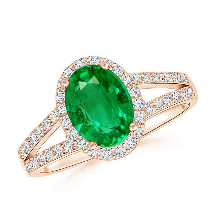 Angara Split Shank Pear Emerald and Diamond Double Halo Ring in Platinum