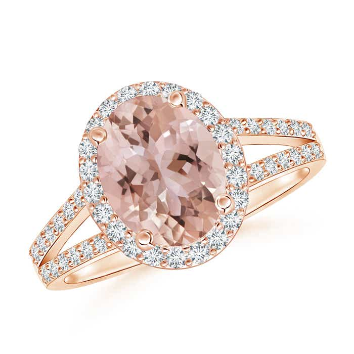 Angara Morganite Diamond Halo Ring in Rose Gold 75uR3r1