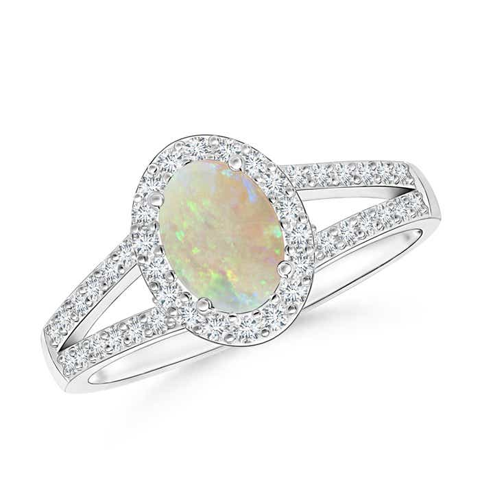 Angara Split Shank Vintage Opal Ring in Yellow Gold axkmHYKqM