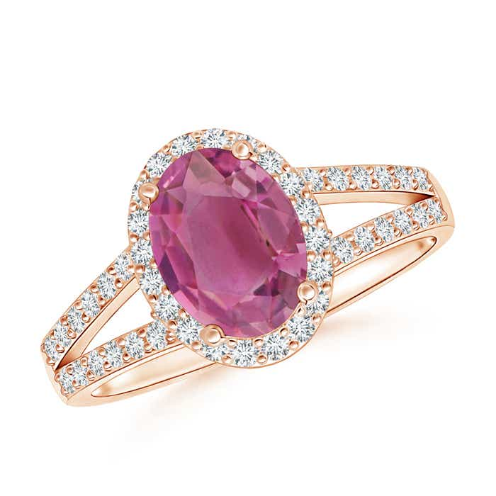 Angara Round Pink Tourmaline Split Shank Ring with Diamond Halo in Rose Gold zoHZlr