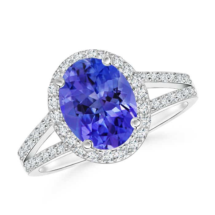 Angara Split Shank Tanzanite Ring in White Gold