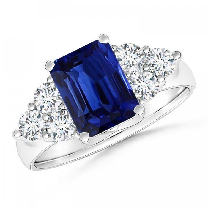 Angara Trio Stone Blue Sapphire Engagement Ring With Diamonds in Platinum ifWk1KhyQ