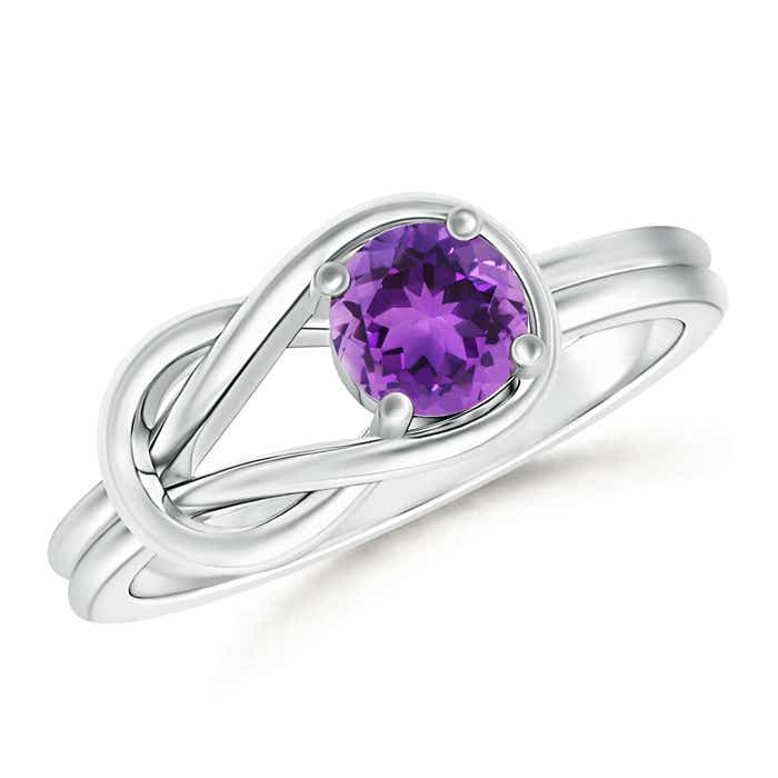 Angara Solitaire Amethyst Knot Promise Ring with Diamond wjwUgLT
