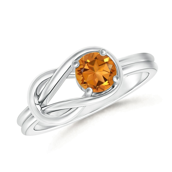 Angara Tapered Shank Citrine Solitaire Ring with Diamond Accent in Rose Gold aLCAuA