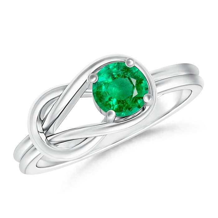 Angara Solitaire Emerald Infinity Knot Ring in Platinum