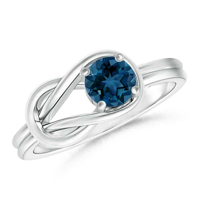Angara Half Bezel Solitaire Round London Blue Topaz Bypass Ring