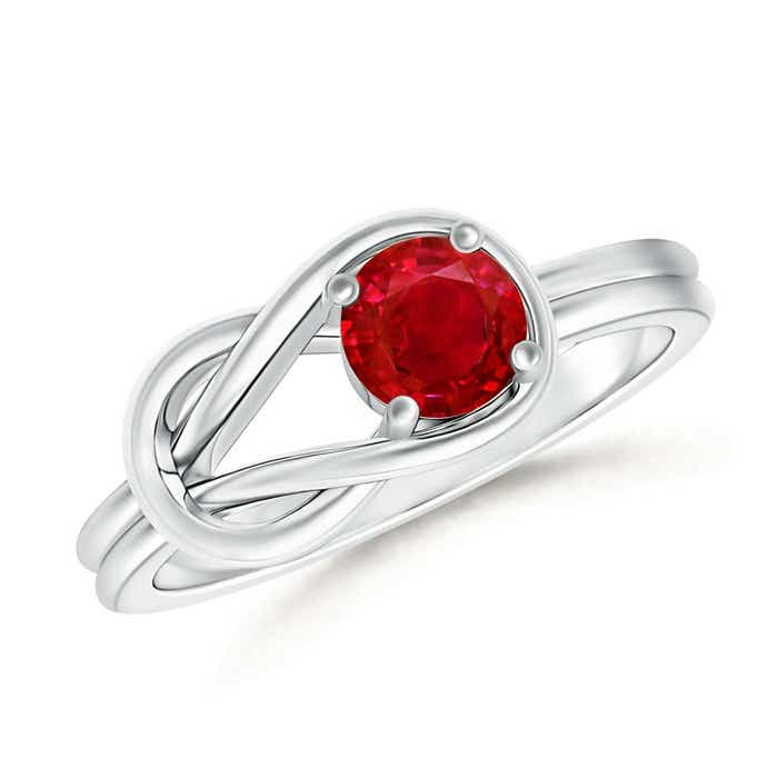 Angara Tapered Shank Solitaire Natural Ruby Ring with Diamond Ye4l53w6