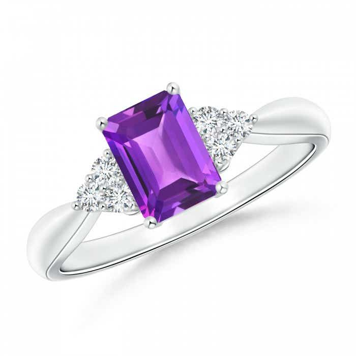 Angara Three Stone Emerald-Cut Amethyst Ring in White Gold iF2MPZ