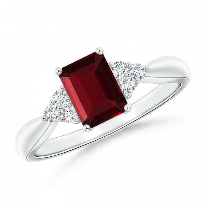 Angara Emerald-Cut Garnet Solitaire Ring with Diamond in White Gold