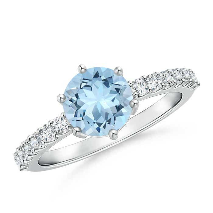 Angara Aquamarine Solitaire Ring with Diamond Accents cYIh9qm