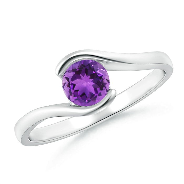 Angara Solitaire Amethyst Bypass Promise Ring with Diamond Accents RbbE9b