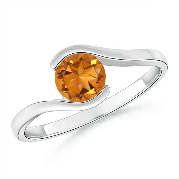 Angara Half Bezel Solitaire Round Citrine Bypass Ring IN6lL7