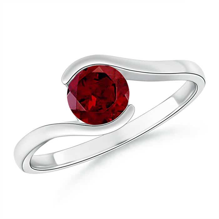Angara Bar-Set Solitaire Round Ruby Bypass Ring
