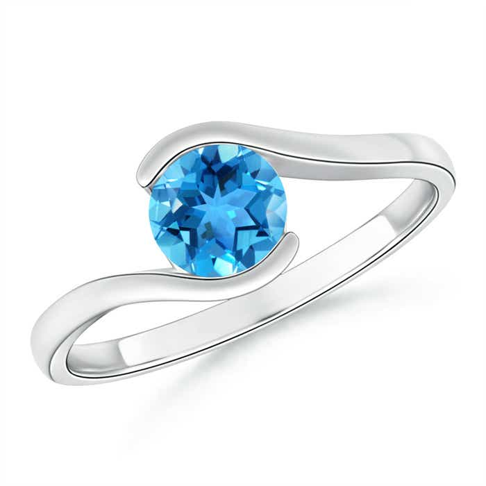 Angara Two Stone Heart Swiss Blue Topaz Bypass Ring with Diamonds vQNRZBxl