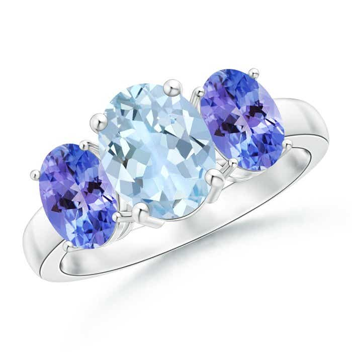 Angara Tanzanite Three Stone Engagement Ring with Diamond in 14k White Gold BSfU5X9qu
