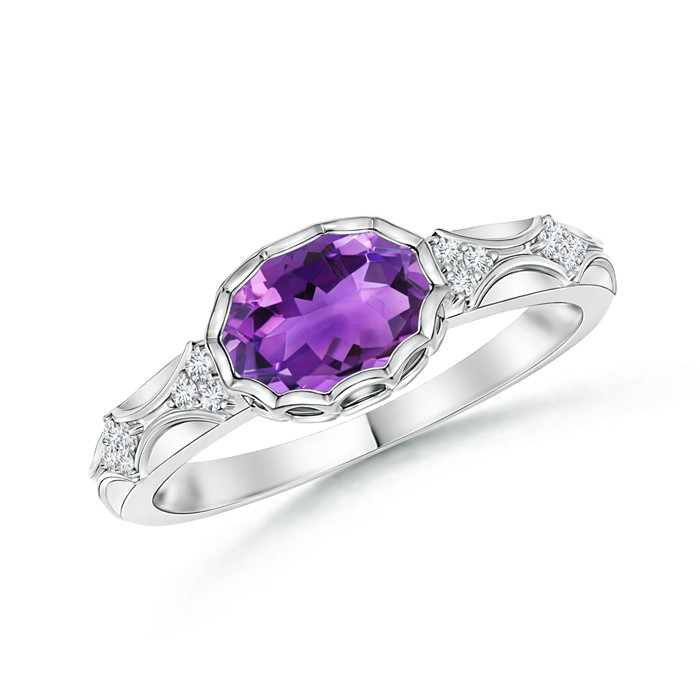 Angara Vintage Inspired Oval Amethyst Halo Ring with Diamond Accents u7hS6lF3d