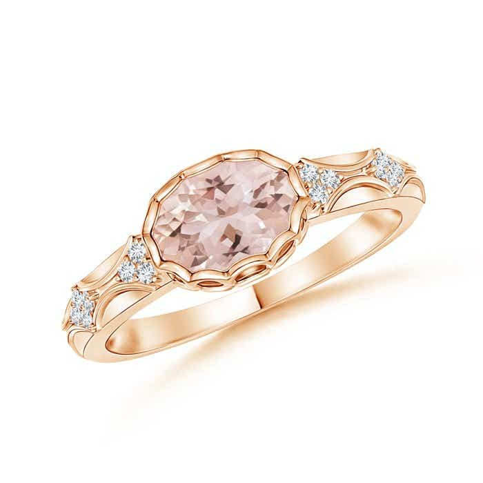Angara Vintage Style Morganite Diamond Halo Ring