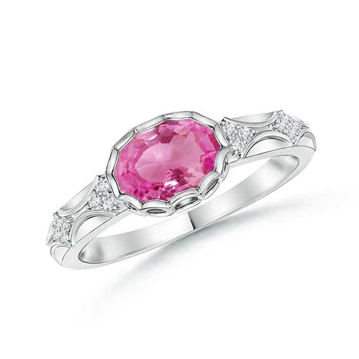 Angara Oval Pink Sapphire Ring with Diamond Band Set in Platinum 7SC7xyRcR